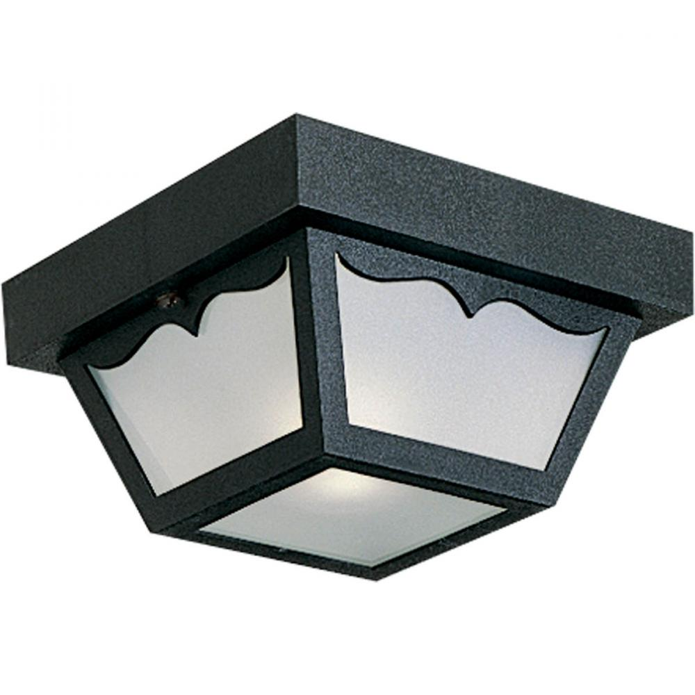 Progress P5744-31 - One Light Black  White Acrylic Diffuser Glass Outdoor Flush Mount