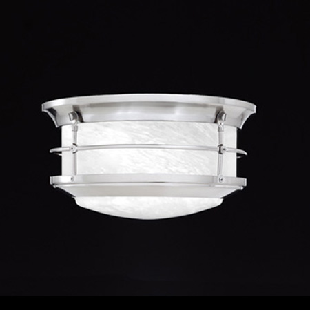Thomas SL928378 - Two-light outdoor ceiling fixture in Brushed Nickel finish with etched alabaster style glass. Damp l