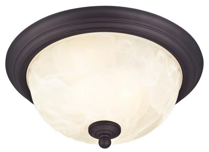 Westinghouse 6230900 - 2 Light Flush Oil Rubbed Bronze Finish with White Alabaster Glass
