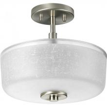 Progress P2851-09 - Two Light Brushed Nickel White Linen Glass Drum Shade Semi-Flush Mount