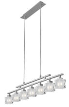 Eglo 86567A - 7x40W Multi Light Pendant w/ Matte Nickel Finish & Frosted & Clear Glass
