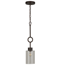 Crystorama 9240-EB-CL - Crystorama Odette 1 Light Bronze Glass Pendant