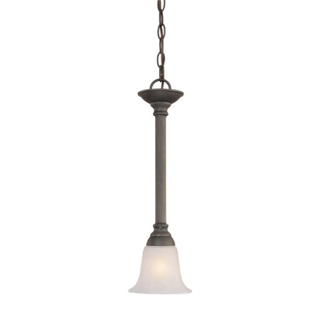 Thomas SL820663 - One-light mini-pendant in Painted Bronze finish with etched swirl alabaster style glass.