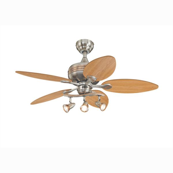 "Westinghouse 7226565 - 44"" Brushed Nickel Finish with Copper Accents Reversible Blades (Maple/Mahogany) Includes Light"
