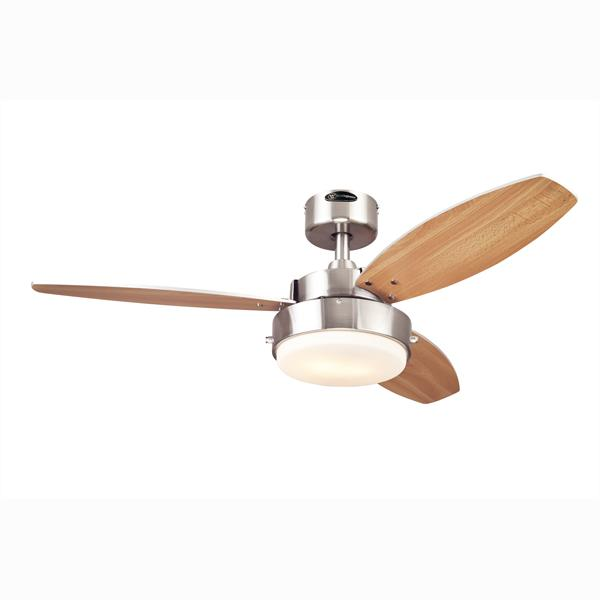 "Westinghouse 7247300 - 42"" Brushed Nickel Finish Reversible Blades (Beech/Wengue) Includes Light Fixture with  Opal Fro"