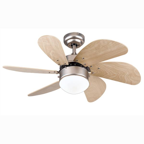 "Westinghouse 7814465 - 30"" Brushed Aluminum Finish Light Maple Blades Includes Light Fixture with Opal Frosted Glass"