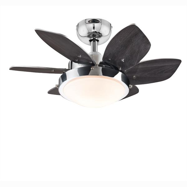 "Westinghouse 7863100 - 24"" Chrome Finish Reversible Blades (Wengue/Beech) Includes Light Fixture with Opal Frosted Glas"