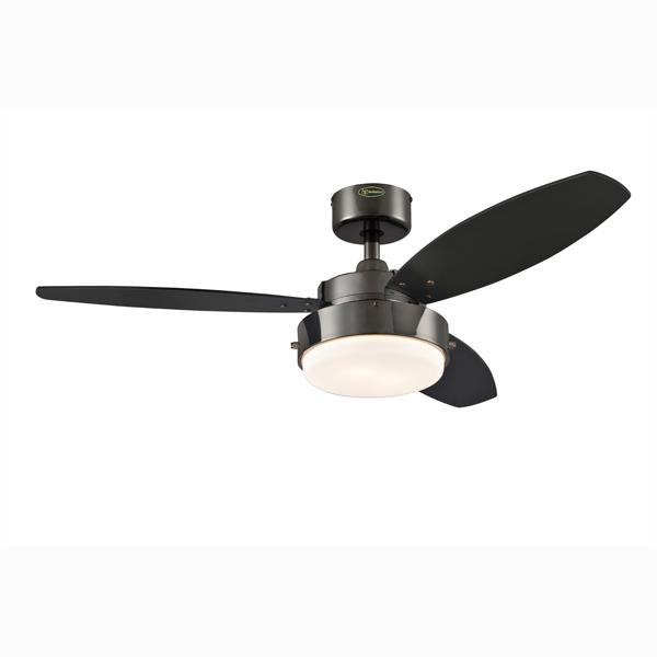 "Westinghouse 7876400 - 42"" Gun Metal Finish Reversible Blades (Black/Graphite) Includes Light Fixture with Opal Frosted"