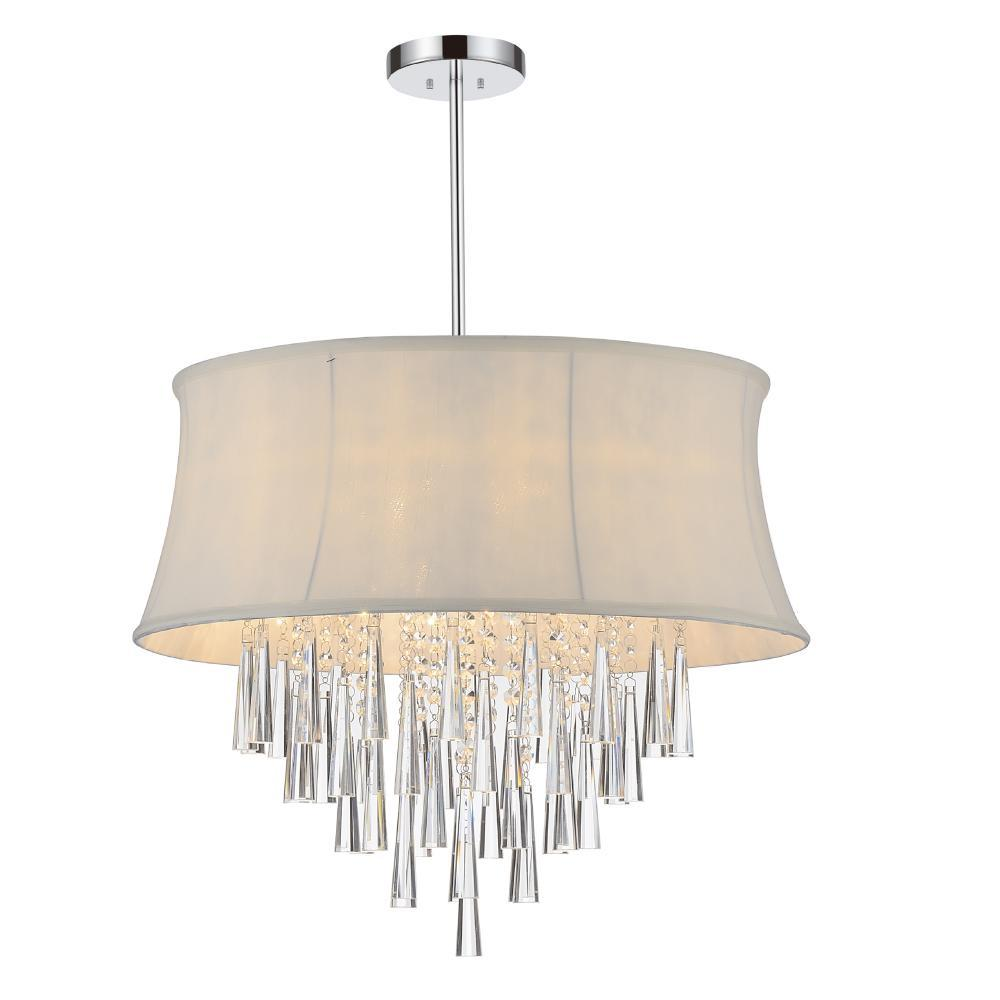 6 light drum shade chandelier with chrome finish 3060073 6 light drum shade chandelier with chrome finish aloadofball Images