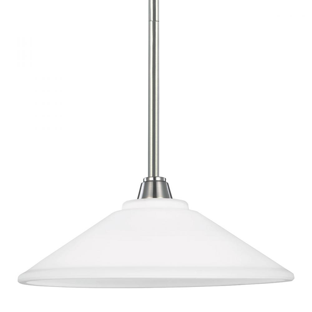 Sea Gull 6513001BLE-962 - Fluorescent Parkfield One Light Down Pendant in Brushed Nickel with Etched Glass Painted White Insid