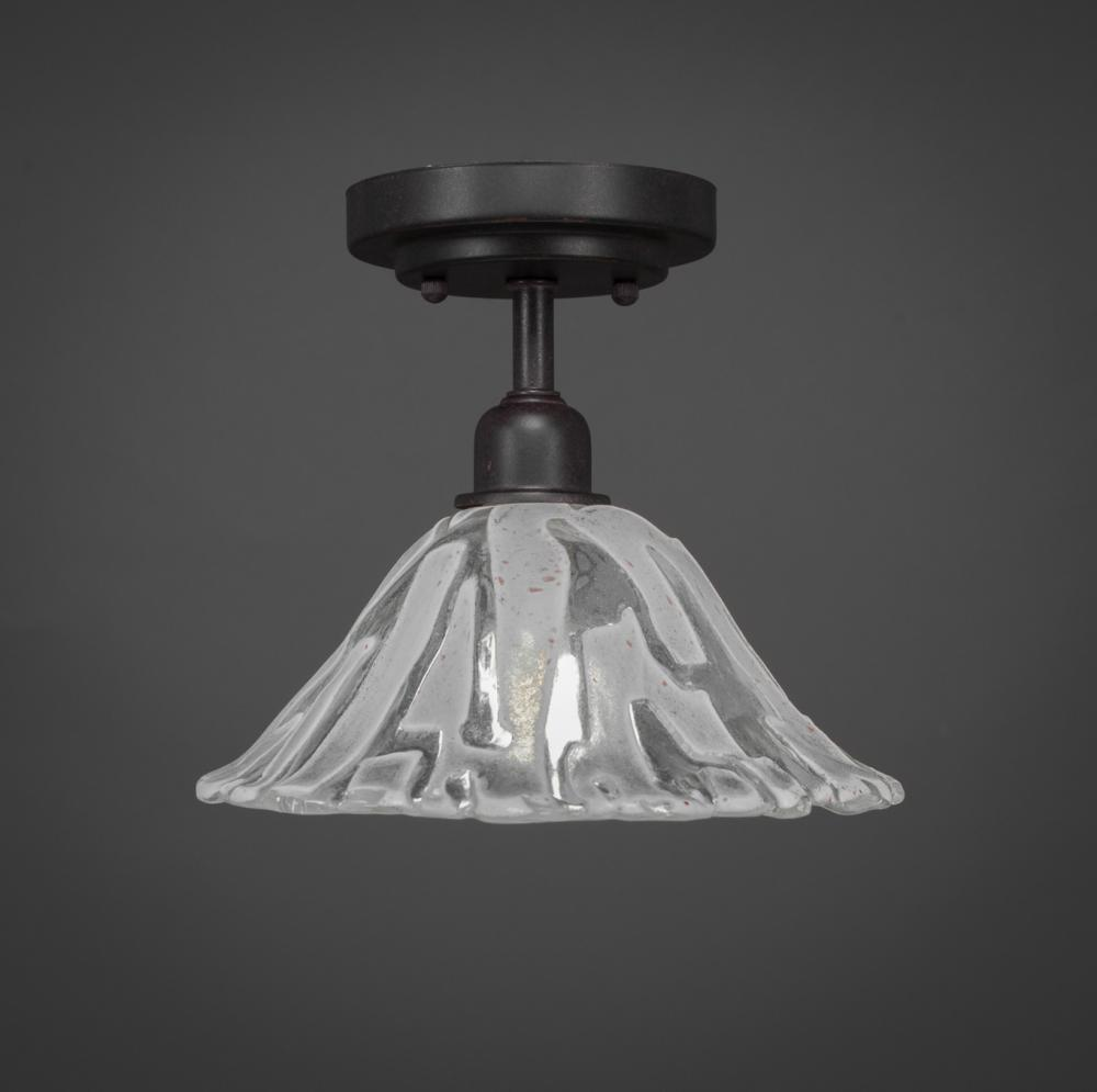 Toltec Company 280-DG-7193 - Vintage 1 Bulb Semi-Flush Shown In Dark Granite Finish