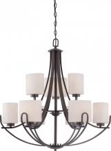 Nuvo 60-5399 - Lola - 9 Light - 2 Tier Chandelier w/ Etched Opal Glass